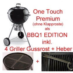 Weber Holzkohlegrill One touch Premium 57 cm black AKTION mit Gussrost